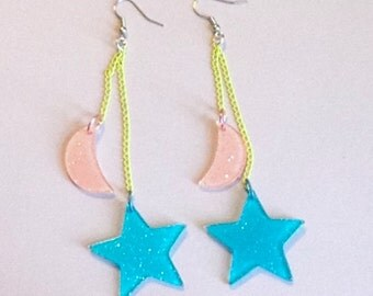 Mystic Pop - Glitter Pastel Pink Moon and Neon Blue Star Charm Earrings