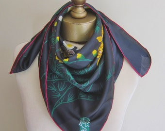 Singapore silk scarf, vintage black scarf, orchid scarf, square silk scarf, hand rolled, head scarf, vintage scarves