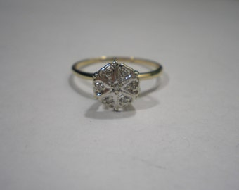 Vintage 10 kt Gold Two Toned Illusion Set Diamond Promise Ring Size 7