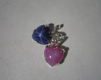 New Sterling Silver Lab Star Sapphire Heart Cabochon Pendant Your Choice