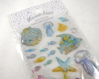Kawaii Japan Sticker Sheet Assort Epoxy Glitter Drop Lunar Tears: UNDER the SEA  Jelly Fish Seashell Sea Horse Ocean Coral Jellyfish Stars R