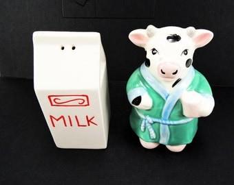 Vintage Salt & Pepper Shakers, Russ Cow + Milk Carton, Wedding Cake Topper, Kitchen Retro Salt Pepper Collection, Hand Painted Cow Shaker