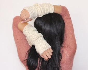 Long Wool Arm Warmers/ Fingerless Gloves in Cream/ Off-White, fingerless gloves, arm warmers, cream, off-white