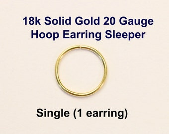 Yellow Gold 18k solid, not plated or filled Hoop Earring 20 ga Cartilage Tragus Helix Nose Ring Small Tiny Catchless Seamless Little Sleeper