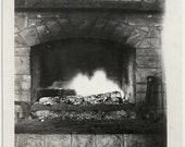 Old Photo Fire Place with Glowing Fire Burnt Log 1930s Photograph snapshot vintage