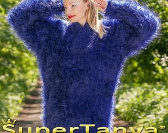 Deep blue shawl collar mohair sweater handmade by SuperTanya