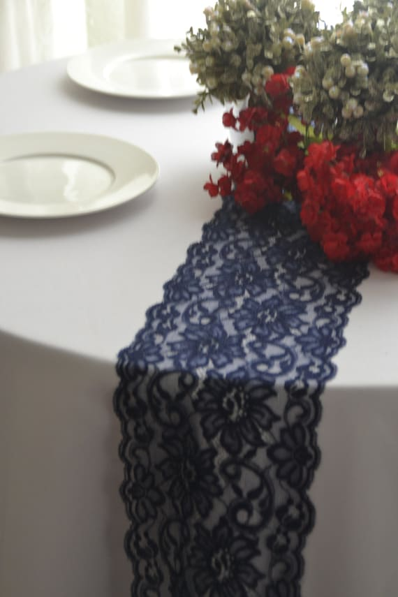 Navy lace table runner 6 5 wide 3ft 12 ft length cutom for 12 ft table runner
