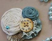 Mama to be Pin // Rustic Burlap Sea Side City Blue Boy Baby Shower Pin // Custom Made