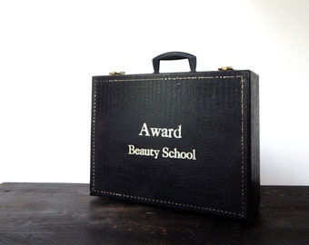 vintage beauty school kit 60s black faux alligator suitcase luggage cosmetology school complete kit case vintage hair rollers retro gift