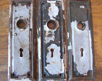Antique Shabby Chic Door Plates (set of 3)Rustic Door Hardware.Antique Door Hardware.Rustic House Numbers.Chippy Shabby.Vintage Door.Doors.