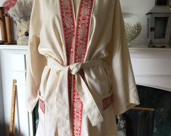 70s Trimmed Unbleached Cotton Kimono Style Robe Jacket