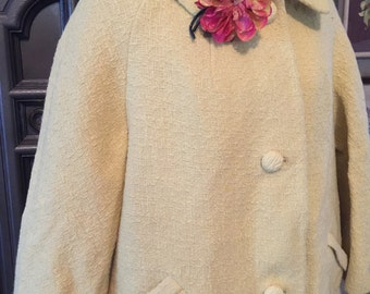 60s Butter Yellow Coat with Wax Paper Flower Pin