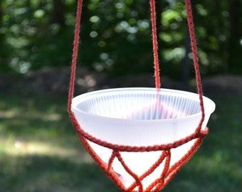 Crochet Candle Holder Hanging Plant Potpourri Upcycle Recycle Glass Lamp Shade Coral Handmade Littlestsister