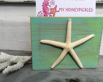 Photo Display Block/Business Card Recipe Postcard Holder/Reclaimed Wood