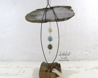 One of a Kind Angel Driftwood and Wire Love Lives Sculpture Mixed Media Art