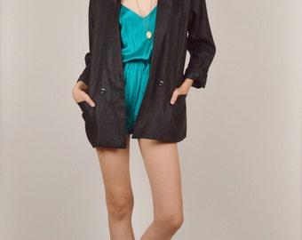 Long Black Blazer w/ Pockets