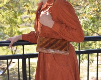 Snake Skin Purse, Vintage Hand Crafted Snakeskin Purse, Exotic Snakeskin Handbag, Vintage Bag, Brown Shoulder Bag