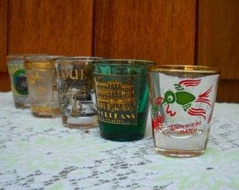 Vintage Shot Glasses, Kitschy Barware, Five Shot Glasses, Selling Together