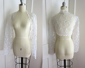 White Sheer Shrug - Sequins - Wedding Jacket - Lace Trim - Long Sleeves - Floral Embroidery