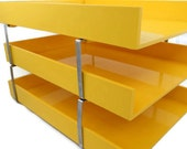 Vintage Stacking Paper Trays - Eldon Desk Accessory - Yellow Desk Tray - 1970s Desk Accessory - 3 Tier Paper Tray - Free Shipping - 1MTT16