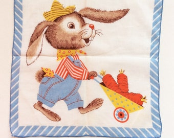 Vintage Rabbit Handkerchief, Perfect Condition