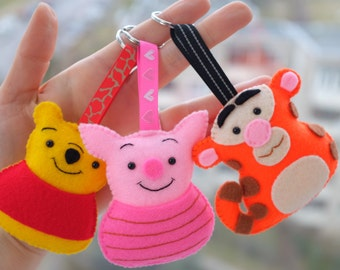 Pooh Piglet and Tigger keychains