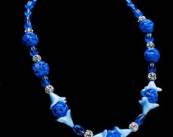 Art Deco Necklace Cobalt & Pale BLUE Bohemian Czech Lampwork Bead Spun Pierced