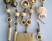 Elephant Carved Bone Vintage Necklace, Safari Charm Necklace, Earrings, Fancy Brass Chain, African Elephant Pendant