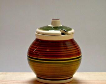 Mid-Century Striped Ceramic Sugar Bowl