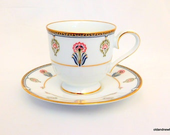 Noritake Tea Cup and Saucer, Gilded Blossoms