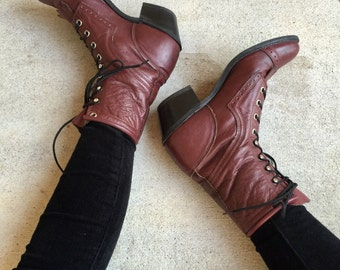 Vintage OxBlood Leather Lace Up Southwestern Roper Riding Boots // Women's size 6 6.5
