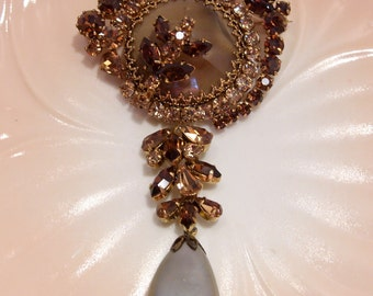 Agate, Rhinestone and Pearl Brooch Made in Austria