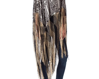 1920s Silk and Velvet Burnout Fringed Crochet Poncho Shawl