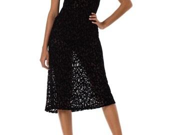 1920s Bias Cut Silk Burnout Velvet Sleeveless Dress SIZE: S, 4