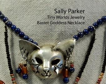Silver Bastet Egyptian Collar Cat Goddess Necklace