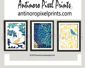 Navy Turquoise Teal Yellow Grey Bird Modern inspired Art Prints Collection -Set of (3) - 8x10 Prints (UNFRAMED) #467283369