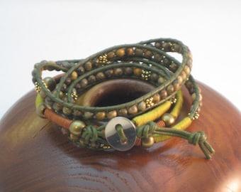 Exotic Leopardskin Jasper 4-wrap Bracelet