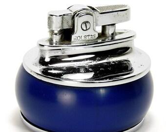 Attractive Vintage Rolstar Blue & Chrome Table Cigarette Lighter