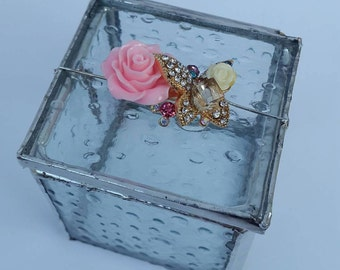 Elegant Trinket Ring Box Clear Stained  Glass Gift box jewelry