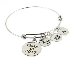 Hand Stamped Jewelry -  Graduation Gifts - Gifts for Grads - Charm Bracelet - Cheer, Football, Basketball, Golf - Expressions Bracelets