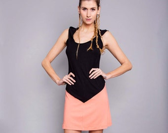 """Jalap"" dress, black and salmon"