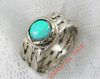 Opal ring. Exquisite braided opal sterling silver ring. birthday gifts, gift for her, opal jewelry (sr-9592-557)