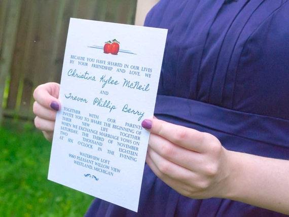 Pumpkin Carnival Invitation Suite, Fall/Autumn Wedding Invites, Orange, Gray & Blue Wedding