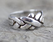 Fused Puzzle Ring Twisted Design Sterling Silver Band 925 Flat Ring  US size 8 UK size P 1/2