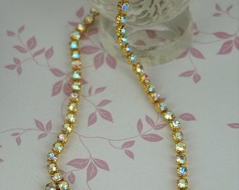 1980s Gold Plated Linked AB Glass Faceted Rhinestone Necklace