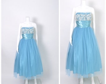 Vintage 1950s Dress Blue 50s Prom Party Dress with Lace Shelf Bust
