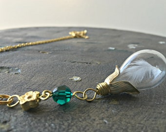 Real Feather Necklace, Memorial Necklace, Glass Teardrop Necklace, Birds Feather Necklace, Emerald Necklace, Hope Necklace Faith Necklace