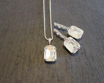 Large Swarovski Clear Crystal Earrings/ Bridesmaid Jewelry/ Clear Swarovski Earrings/ Bridal Jewelry/ Wedding Jewelry/Bridesmaid Earrings