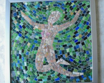 "Handmade Mosaic Art Wall Hanging ~ Mexican Smalti Glass Mosaic ""Leap of Faith"" ~ Handmade Inspirational Mosaic Art by ElleBelleArt"