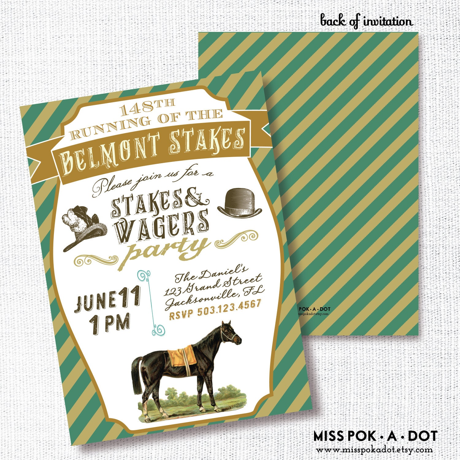 Belmont Stakes Party Invitation Printable Horse Race Invite
